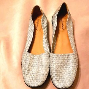 COMFORTVIEW BETHANY SILVER WOVEN FLATS SZ 10M